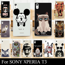 For Sony T3 T 3 Case Hard Plastic Mobile Phone Cover DIY Color Paint Painting Cellphone Bag Shell cases