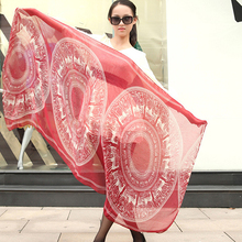 Women's Bohemian Vintage Deer Disk Print Long Soft Sheer Voile Shawl Scarf(China)