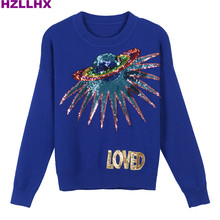 HZLLHX Fall women chic short sweater top Fashion News ladies sequins embroidery LOVED letters Knit pullovers Sweater Planet top(China)