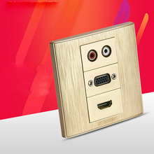 Gold Color Wall Outlet Audio VGA Elbow HDMI Face Panel 86x86mm Hifi Sound Plug Socket Free Shippment(China)