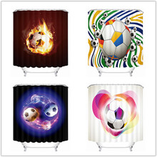 Latest Fire Football 3D Bathroom Curtain Waterproof Shower Curtains Hot Bath Curtain with Hooks Bathroom Products(China)