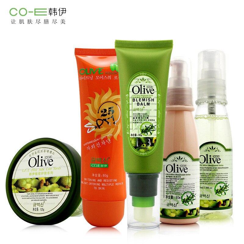 5Pcs Face Skin Care Set Kit Olive Oil Mask Anti-block Spray Concealer Cream Sun Block Cream BB Cream Whitening Moisturizing <br>