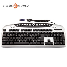 LOGIC POWER Original Keyboard  English Russian wired PS/2  Gaming Multimedia Keyboard QTY of buttons 104+30 #2733
