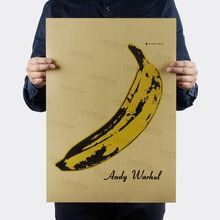 Free shipping,Andy Warhol BANANA/MUSIC ROCK BAND/kraft paper/bar poster/Wall stickers/Retro Poster/decorative painting 51x35.5cm