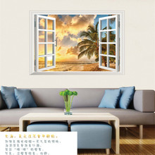 2017 Out of the window Landscape Scenic Sky Sea Beach The Living Room Bedroom Background Wall Decorative Wall Stickers Home(China)
