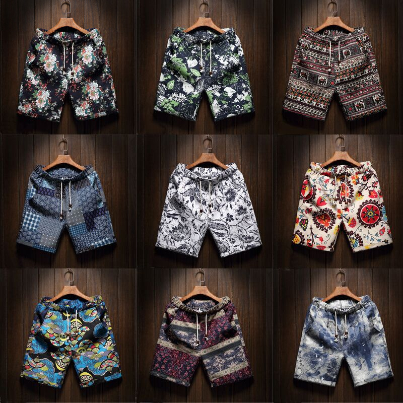 Shorts Linen Bermuda Hawaiian Floral Male Men's Beach Cotton Casual Summer Brand Straight title=