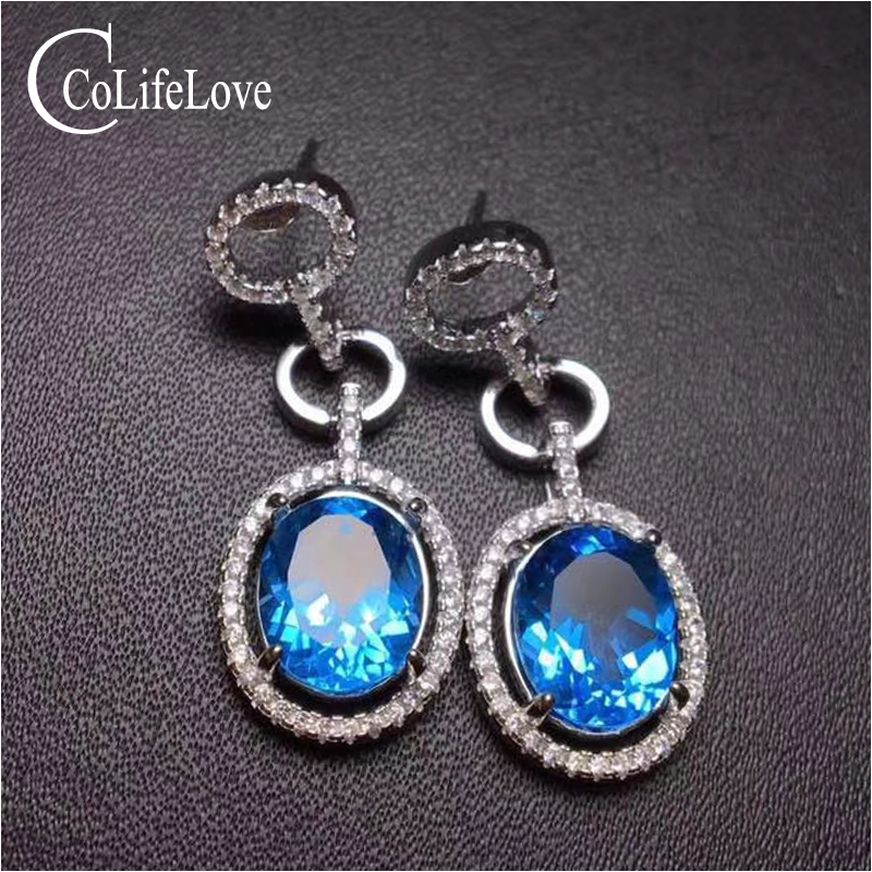 Fashion topaz drop earrings for party 9 mm * 11 mm big size natural topaz silver earrings solid 925 silver topaz jewelry