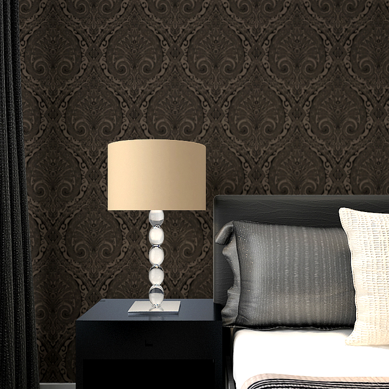 Black Baroque Floral Silk Impression Cottage Ogee Zinc Shimmer Jaquard Damask Flocked Wallpaper 20 x 39 Roll<br><br>Aliexpress