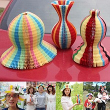 1PCS Variety Magic Hat For Kids Girls Summer Holiday Beach Party Favor Flower Vase Sunbonnet Shaped Magic Paper Sun Hat
