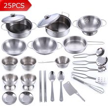 25Pcs Stainless Steel Children Kitchen Toys Miniature Cooking Set Simulation Tableware Toy Pretend Play Cook Toy for Kids Gift(China)