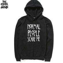 THE COOLMIND thick Normal People Scare Me printed men hooded sweatshirt top quality cotton blend fleece casual men hoodies
