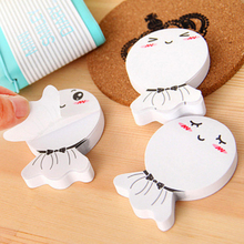New Stand adhesive carton paper notes memo pads sticker cute lovely white doll post it note school supplies H1417