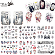 1 Sheet  Optional Ghost Skull Halloween Style Watermark Sticker Nail Art Transfer Decal DIY Cute Tip TRBN193-204