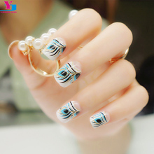 New Feather Glitter Fake Nail Tips Press On Faux Ongles French Manicure Gold Art Metallic False Nails Sticker Unhas Artificiais