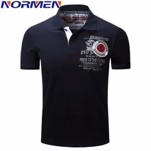 NORMEN Men's Solid Fashion Polo Shirt Short Sleeves Turn-Down Collar Cotton Polos Men(China)
