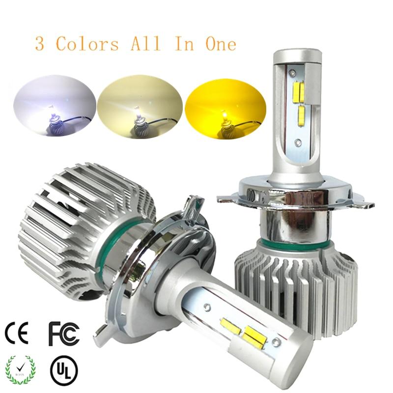 Car LED Light Headlamp H7 H4 LED Bulbs H1 H3 H8 H11 9005 9006 880 9012 3Colors LED Headlight Kit 3000K 4300K 6000K 9600LM Dual <br>