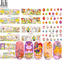 12 Designs Nail Wrap Full Nail Art Sticker Set Cartoon Designs Stencil Color Easter Patterns DIY Tattoos Slider Tips JIBN541-552