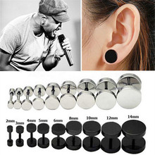 1PCS Men's Barbel Punk Gothic Stud Earrings Fashion Brand 6 Sizes Black Stainless Steel Earrings For Men &Women eh544