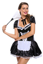 Women French Maid Costume Black Short Lacing A Dress S Y Bow Knot Party