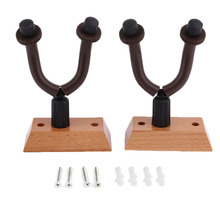 Ship From US 2Pcs Durable Wall Mount Guitar Hanger Hook W/ Rubber Sheath Wooden Base for Guitar Bass Violin Ukulele Instrument(China)