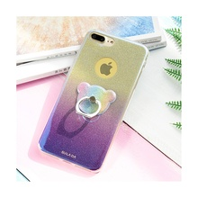 SULADA for iPhone 7 Plus Case Luxury Gradient Color Glitter Powder TPU Mobile Phone Casing with Finger Ring Kickstand