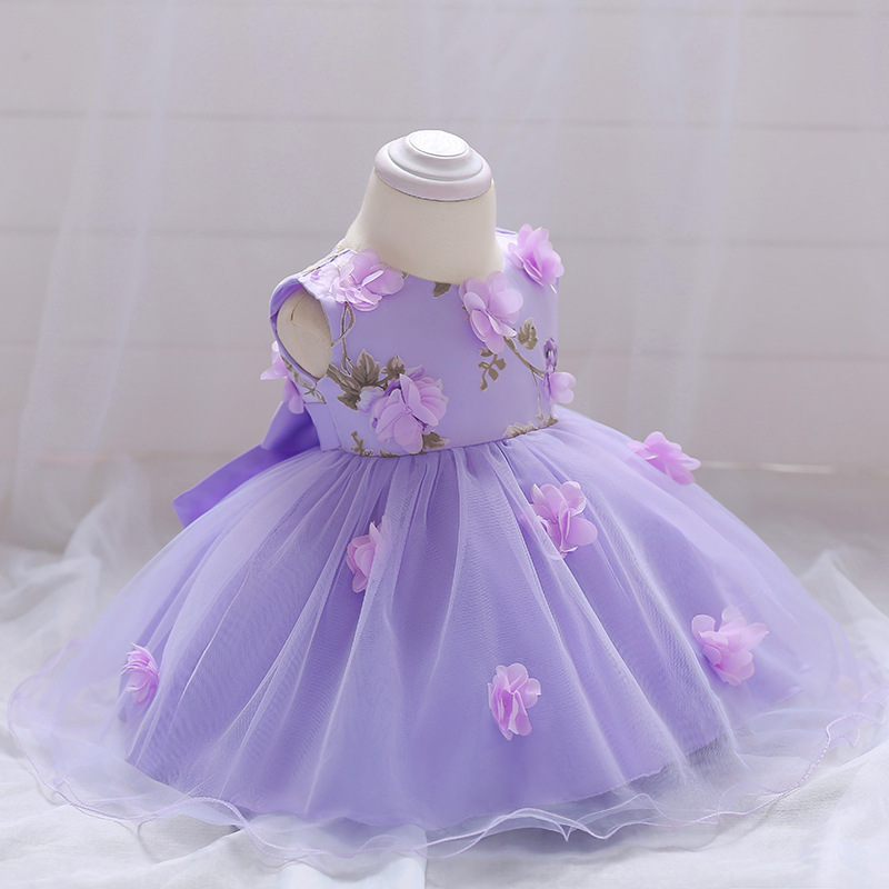 2018 Baby Girl Dress Summer Flower Infant Princess Wedding Dress Newborn 1 Year Birthday Party Dresses Baby Christening Clothes (2)