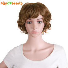 "MapofBeauty 12"" 30cm curly hair natural womens ladies wig black dark light brown colors Heat Resistant synthetic wigs peruca(China)"