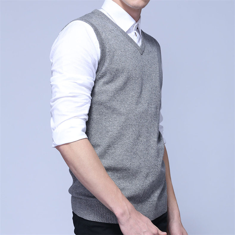 4Colors Men Sleeveless Sweater Vest Autumn Spring 100% Cotton Knitted Vest Sweater Basic Male Classic V neck Tops 2018 New M-3XL-06