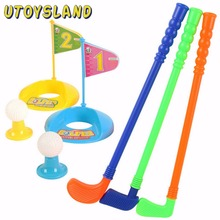 UTOYSLAND Set of Plastic 3 Golf Putter Club 2 Balls 2 Putting Cup 2 Flags 2 Tees Kids Toy - Color Random