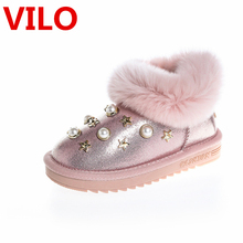 Winter Children Girl boot Pu Leather Snow Booties for Girl Baby Pearl Pink Snow Boot Kid  Gilr Fur Shoes sneaker size 21-36 A12