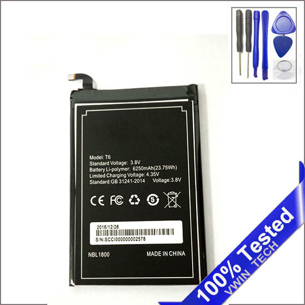 Tested DOOGEE T6 Battery High Large Capacity 6250mAh Battery DOOGEE T6 Pro Battery Homtom HT6 Battery