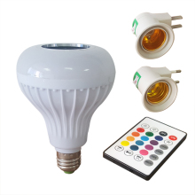 LED RGB Color Bulb Light E27  110V-240V Bluetooth Control Smart Music Audio Speaker Lamps