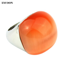 Promotion! 316L Stainless steel Cat's eye big ball ring unique orange luxury big ball shape opal stone rings for woman and girls(China)