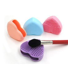 Lmlly Makeup Brush Cleaner Colorful Heart Shaped Cleaning Brush Cosmetic Silicon Glove Scrubber Board Wash Brush Cleaner Tools(China)
