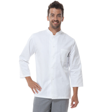 Fahion Restaurant Hotel Kitchen Men Male Chef Coats Jackets Uniform Single Breasted Buttons Long Sleeves White Color