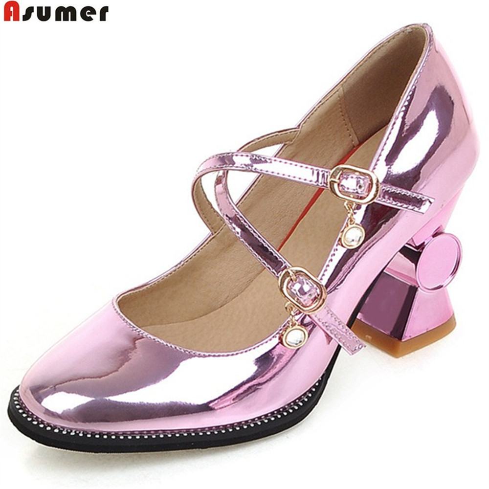 ASUMER gold silvery fashion square toe buckle ladies single shoes spring autumn women high heels shoes big size 32-44<br>