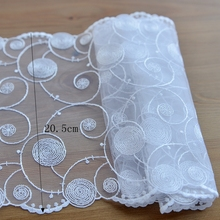 White net cloth embroidery lace Lace accessories Cloth art lace curtain material 20.5 cm G381