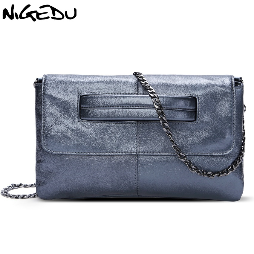 NIGEDU brand Genuine Leather womens envelope clutch bag Chain Crossbody Bags for women handbag messenger bag Ladies Clutches<br>