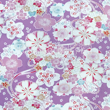 145X100cm Japanese Cherry Blossom Flowers Violet Red Cotton Fabric for Baby Girl Clothes Kimono Hometextile Curtain DIY-AF208(China)