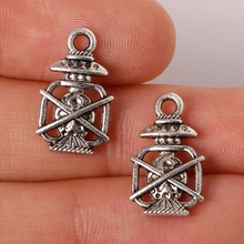 New Arrival 10*17mm 11pcs Zinc Alloy Oil Lamp Charms Antique Silver Plated Charm Pendants Vintage Jewelry Findings Accessories