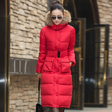 Hot Women Winter Jackets Down Knee X-Long Coat Female Outerwear Hooded Thick Padded Jacket Lady Down Parka Plus Size LQ087(China)