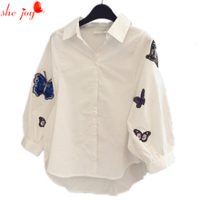 Casual White Blouse for Women Butterfly Embroidery Tops Shirt Big Size Women's Tops Blusa Feminina Puff Sleeve Camisa(China)