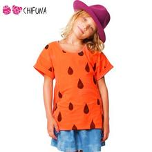 New Fashion 2016 Children T-Shirt Clothing Summer Custom Casual T Shirts Orange Raindrops Printed Boys Girls Short T-Shirts