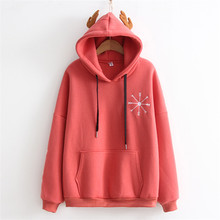 Hoodies Women 2017 Snow Flowers Embroidery Cotton Women Sweatshirt Velvet Deer Ears Hooded Pocket Sudaderas Mujer Pullover Tops(China)