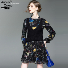 spring autumn high quality womans dresses black a-line dress colorful space star pattern print black knitted vest fashion dress