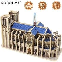 Robotime памятные DIY 3D деревянный Нотр-Дам де Пари игра-головоломка сборки игрушка в подарок для детей и взрослых друг MJ404