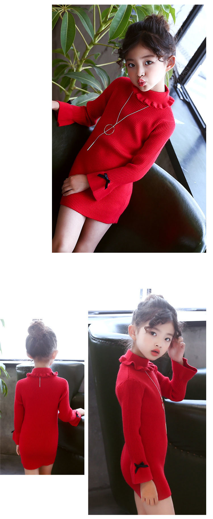 high neck knitting girls sweater dress kids clothes long sleeve knitted red black white autumn winter kids sweater knit tops 5 6 7 8 9 10 11 12 13 14 15 16 years little teenage big girls white girls dresses (10)