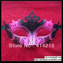 Free Shipping High Quality 48pcs Hot Pink And Black Sexy Venetian Carnival Plastic Masks Wholesale