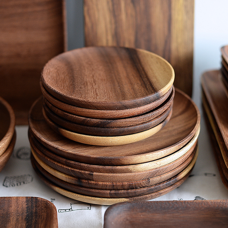 Round Wooden Plates High Quality Acacia Wood Serving Tray Cake Dishes Tableware Plate for Dessert Salad 2 Sizes Wood Utensils (1)