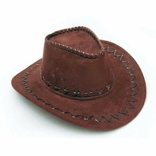2017 Fashion Cowboy Hat Suede Look Wild West Fancy Dress Mens Ladies Unisex Hats New Cool(China)